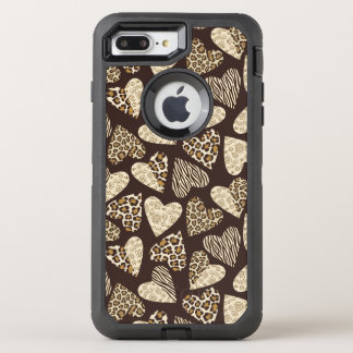 Animal skin with hearts OtterBox defender iPhone 8 plus/7 plus case