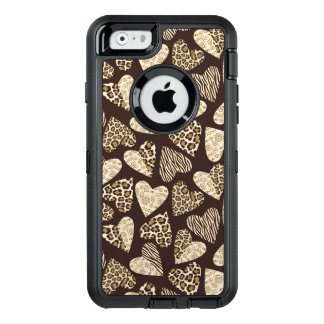 Animal skin with hearts OtterBox defender iPhone case