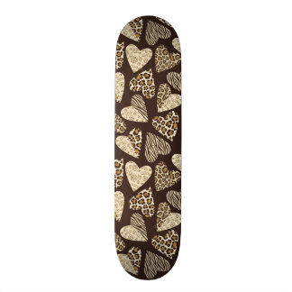 Animal skin with hearts skateboards