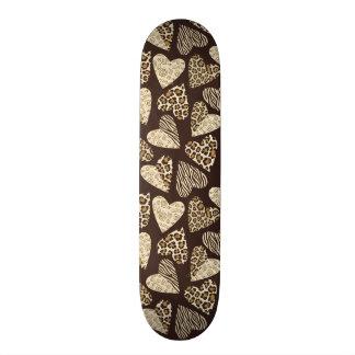 Animal skin with hearts skateboards