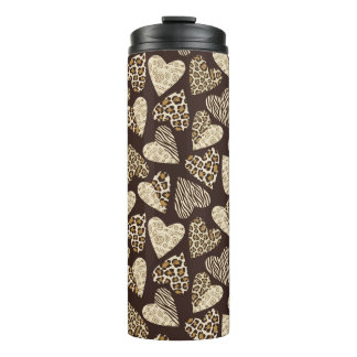 Animal skin with hearts thermal tumbler