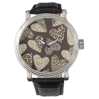 Animal skin with hearts watch