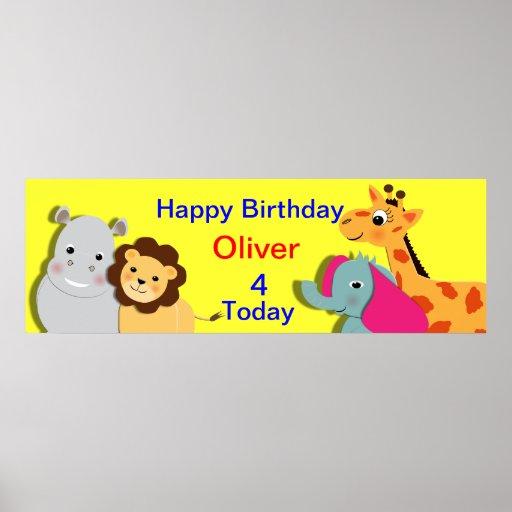 Animal Theme Happy Birthday Personalised Banner Poster
