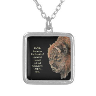 Animal Totem Spiritual, Bison, Buffalo Inspiration Silver Plated Necklace