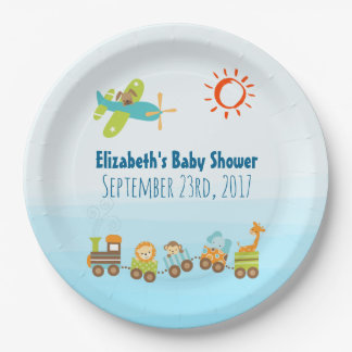 Animal Toy Train and Airplane Boy Baby Shower 9 Inch Paper Plate