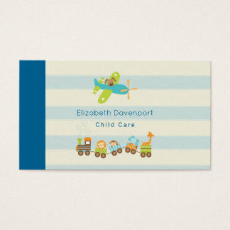 Animal Toy Train and Airplane on Stripes Business Card