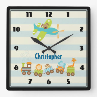 Animal Toy Train and Airplane on Stripes Custom Wall Clock