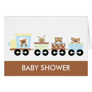 Animal Toy Train Baby Shower Notecards Card