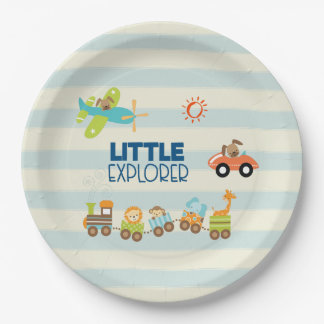 Animal Toy Train Car and Airplane Little Explorer 9 Inch Paper Plate