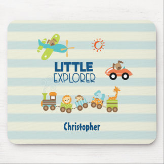 Animal Toy Train Car and Airplane Little Explorer Mouse Mat