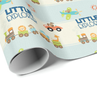 Animal Toy Train Car and Airplane on Stripes Wrapping Paper