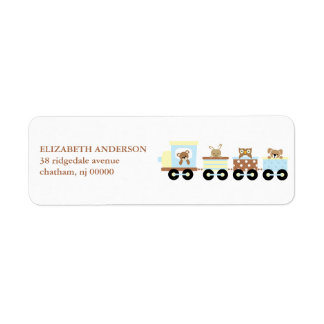Animal Toy Train Return Address Labels