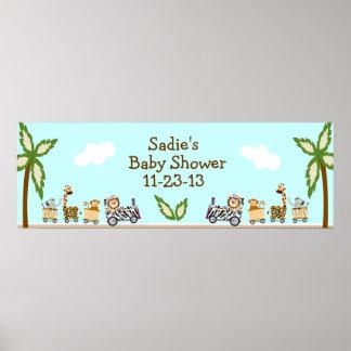 Animal Train Baby Shower Banner Print