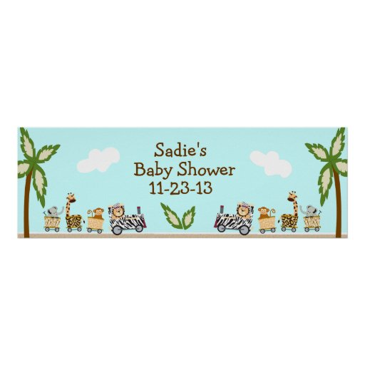 Animal Train Baby Shower Banner Poster