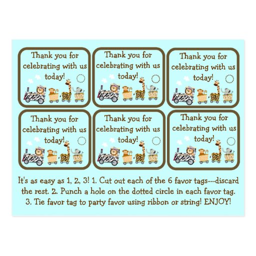 Animal Train Baby Shower Party Favor Tags Postcard