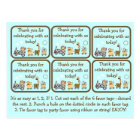 Animal Train Baby Shower Party Favour Tags Postcard