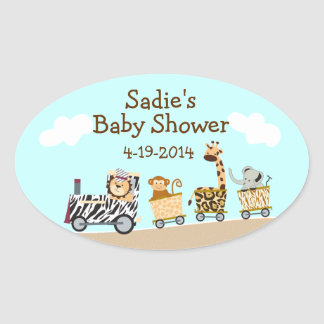 Animal Train Baby Shower Sticker Sheet