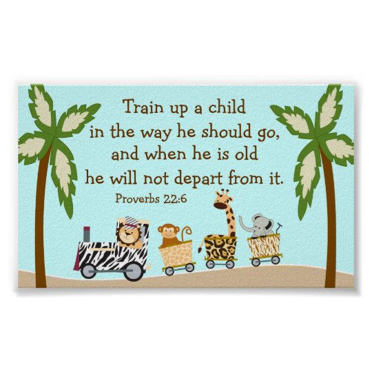Animal Train Christian Bible Verse Wall Poster