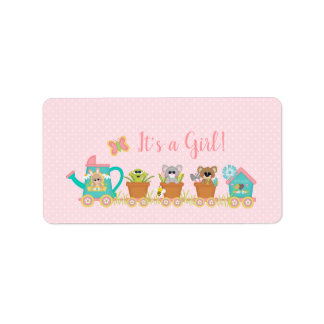 Animal Train It's a Girl Baby Shower Sticker Label