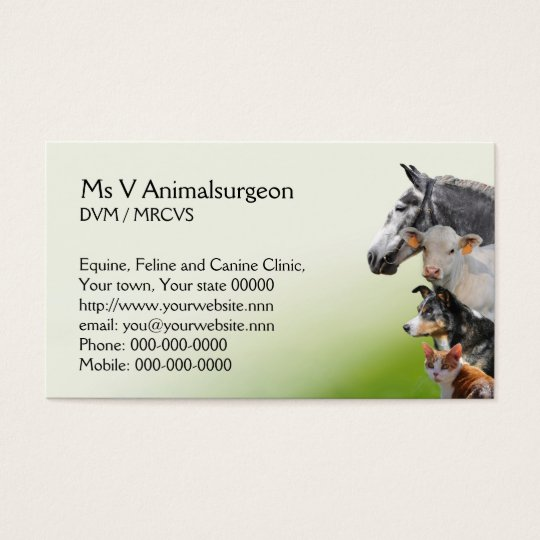 Animal vet appointment business card