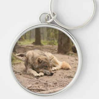 Animal Wolf Peace Love Wild Country Nature Silver-Colored Round Key Ring