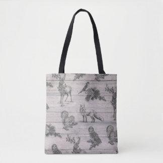 Animal wood country rustic winter tote bag