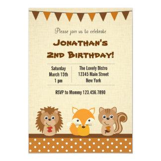 Animal Woodland Birthday Party Invitation