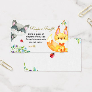 Animal Woodland - Diaper Raffle Card