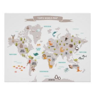 Animal World poster World Map Wall decal Kids