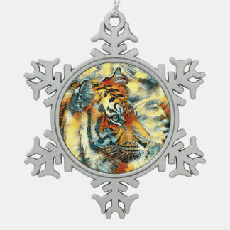 AnimalArt_Tiger_20170604_by_JAMColors Pewter Snowflake Decoration