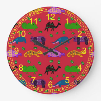Animals - Abstract Purple Turtles & Blue Elephants Large Clock