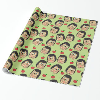 Animals and Fruits - Hedgehogs and Apples Wrapping Paper