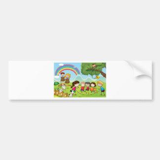 animals and kids bumper sticker