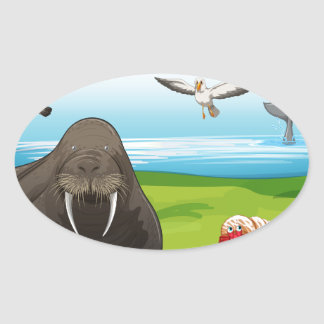 Animals and ocean oval sticker