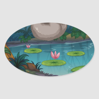 Animals and pond oval sticker