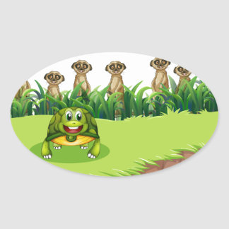 Animals and river oval sticker