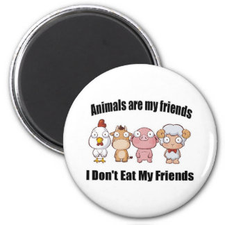 Animals are my friends 6 cm round magnet