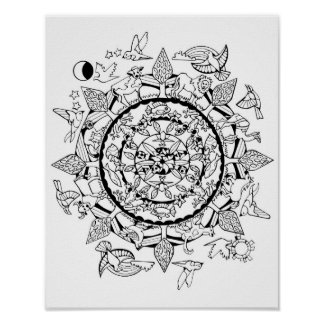 Animals Around the World Mandala Poster