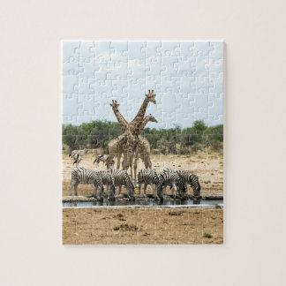 Animals at a waterhole jigsaw puzzle