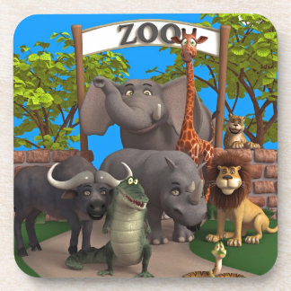 Animals at the Zoo Beverage Coaster