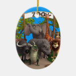 Animals at the Zoo Ceramic Oval Decoration