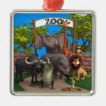Animals at the Zoo Silver-Colored Square Decoration
