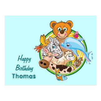 Animals birthday postcard