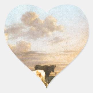 Animals by the River by Adriaen van de Velde Heart Sticker