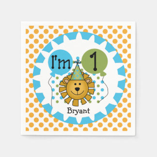 Animals Circus Lion 1st Birthday Paper Napkins Disposable Serviette