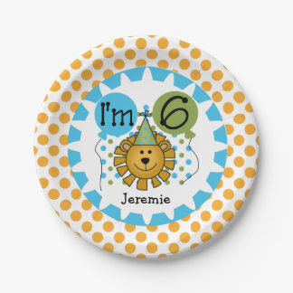 Animals Circus Lion 6th Birthday Paper Plates