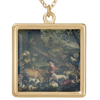 Animals Entering the Ark (oil on canvas) Square Pendant Necklace