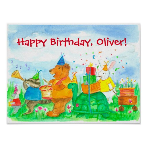 Animals Happy Birthday Custom Name Poster