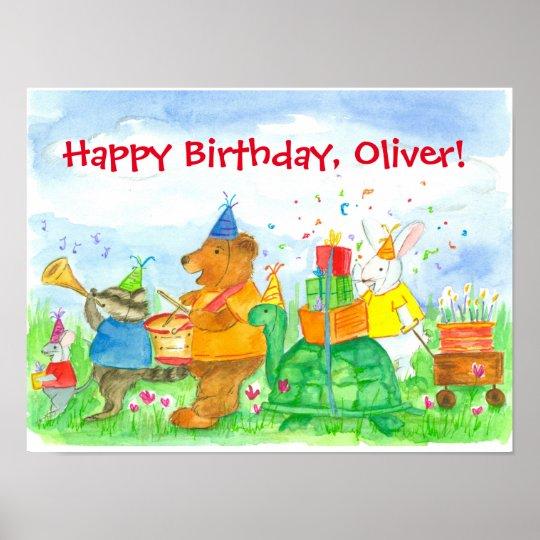 Animals Happy Birthday Custom Name Poster
