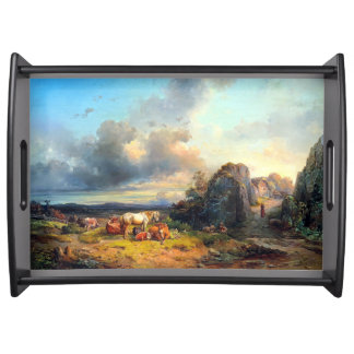 Animals Horses Cows Landscape Serving Tray
